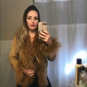 EXPRESS suede and real Mongolian fur jacket/coat